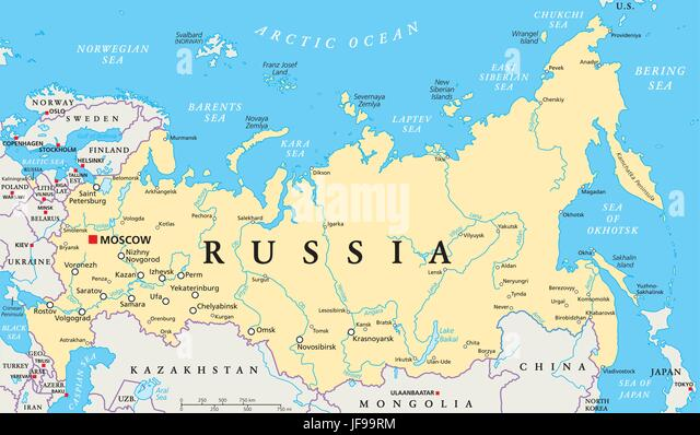 Russia political map stock photos russia political map stock russia political map stock image sciox Choice Image