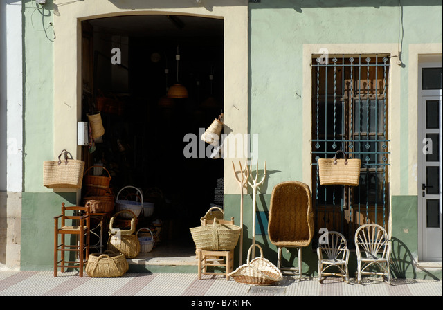 Souvenir Shop Selling Traditional Spanish Baskets And Cane Furniture, Gata  De Gorgos, Alicante Province