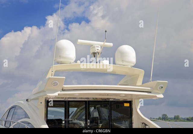 Marine Communication Radar Antenna System On Luxury Boat