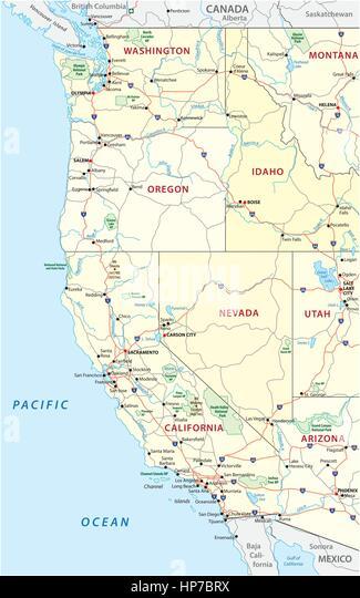 West Coast Usa Map Stock Photos West Coast Usa Map Stock Images