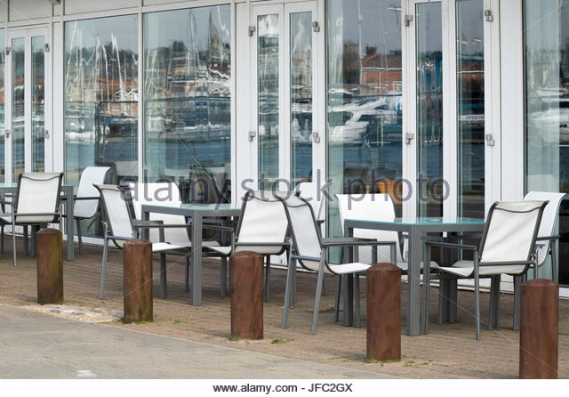 Empty Seating Outside Aurora Bar And Restaurant Orwell Quay Ipswich Suffolk England