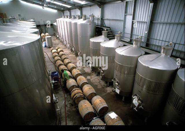 New Zealand Renwick Wine Storage Tanks At Framingham Winery Marlborough  Region   Stock Image