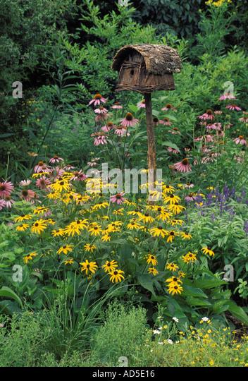 Bird feeder home made stock photos bird feeder home made stock images alamy - Rustic flower gardens ...