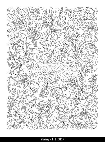 doodle floral pattern in black and white page for coloring book very interesting and - Coloring Book Paper Stock