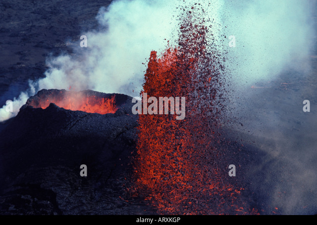 Kilauea Volcano Erupting With Fountaining Lava And Steam. Hawaii Stock Photo, Picture And