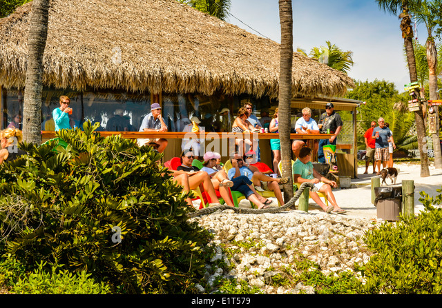 happy hour in full swing at a thatched roof tiki hut bar amongst coastal vegetation