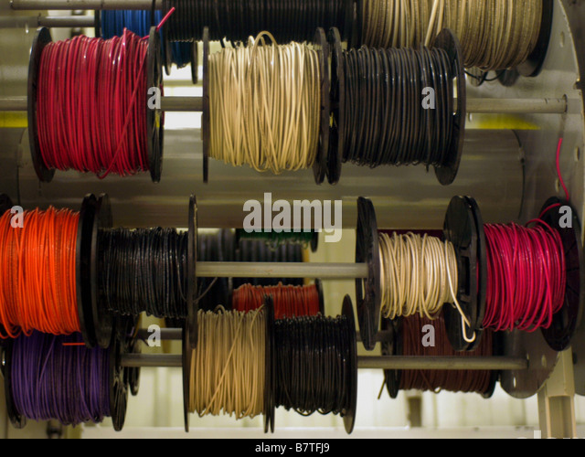 Spools of electrical wiring on display at a home improvement warehouse store. - Stock Image : home improvement electrical wiring - yogabreezes.com