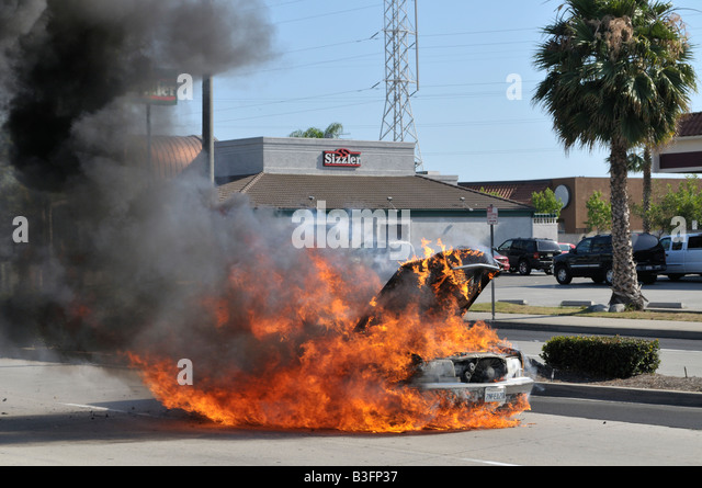 Superior Ordinaire An Overheating Mercedes Benz Catches Fire Stock Image