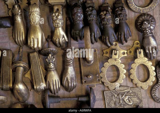 Africa, Morocco, Marrakesh, Hands of Fatima for sale; on doors, they - Fatima Door Knocker Stock Photos & Fatima Door Knocker Stock
