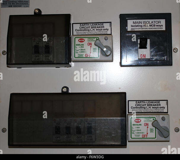 fuse box with trip switches f6w3dg trip switch stock photos & trip switch stock images alamy trip switch fuse box at mifinder.co