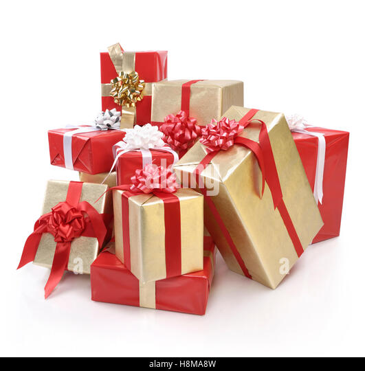 Christmas presents pile cut out stock photos