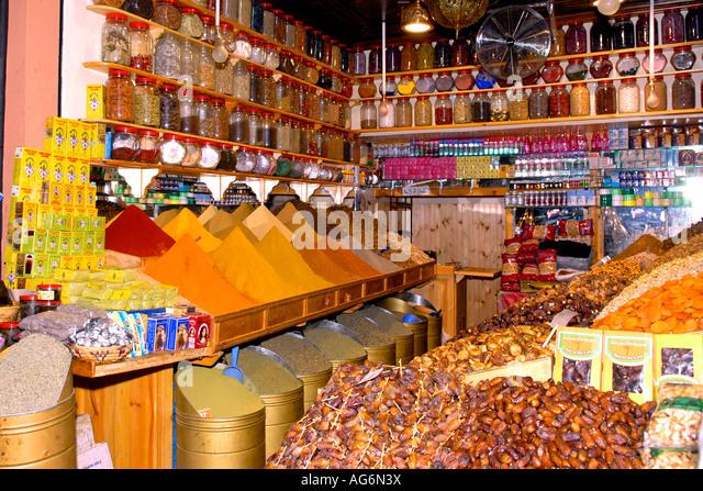 herbs spices shop medina marrakech stock photos & herbs spices