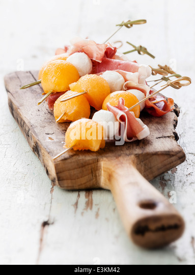 Spanish canapes stock photos spanish canapes stock for Prosciutto and melon canape