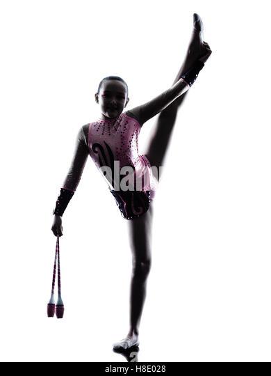 One caucasian woman exercising rhythmic gymnastics with ribbon in - Rhythmic Gymnastics Child Stock Photos Amp Rhythmic