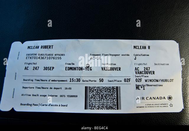 air canada plane ticket stock photos air canada plane. Black Bedroom Furniture Sets. Home Design Ideas