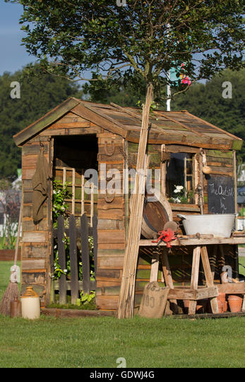The Inside Outside Rustic Garden Shed At The RHS Royal Horticulutral  Society 2016 Flower Show At