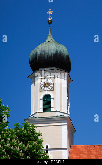 Bell Tower Of The Parish Church Of St. Peter And Paul, Oberammergau, Bavaria
