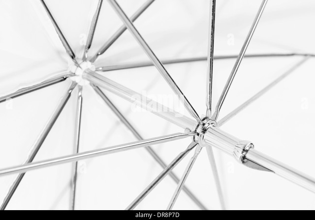 closeup of white umbrella frame or truss stock image