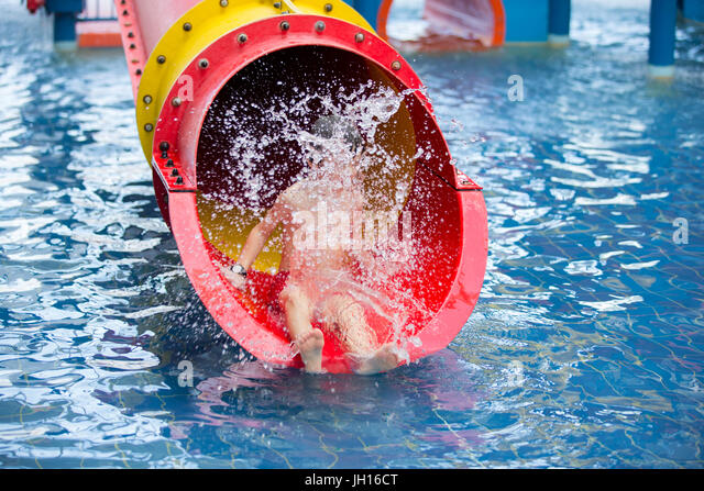 Sweet Child, Boy, Playing In Water World Playground, Enjoying Attractions,  Swimming In