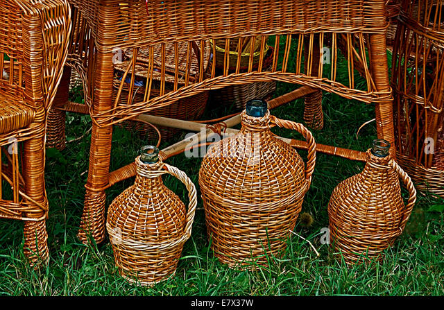 Decorative garden furniture and jugs  made from twigs and wicker    Stock  Image. Ornamental Garden Furniture Stock Photos   Ornamental Garden