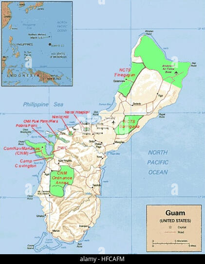 Map Of Military Installations On Guam Stock Image