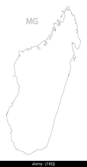 Map Of Madagascar Black And White Stock Photos Images Alamy - Madagascar map outline