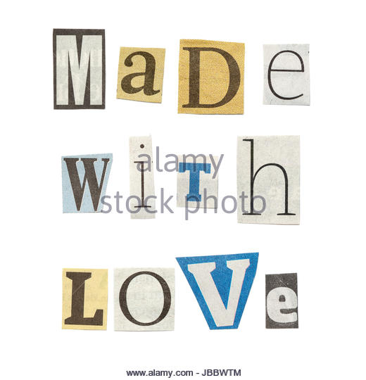 Made of newspaper letters cut out stock images pictures alamy made with love words composed from isolated cutout newspaper letters stock image spiritdancerdesigns Choice Image