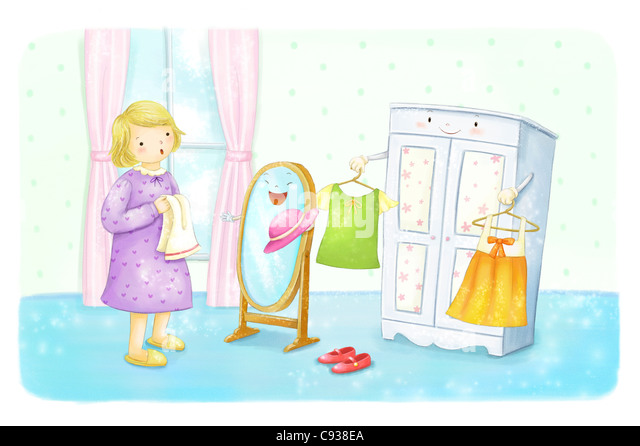 child looking in mirror clipart. young child looking at mirror getting ready - stock image in clipart d