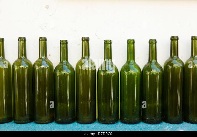 Green wine bottles stock photos green wine bottles stock for Green wine bottles