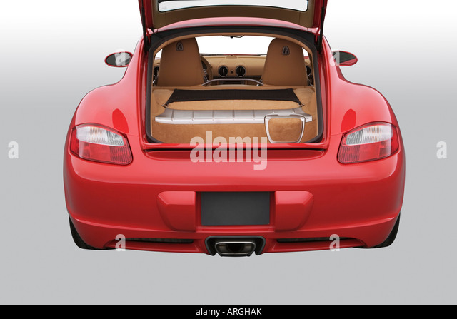 2007 porsche cayman in red engine stock image