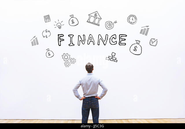 finance concept, business man looking at drawn word on white background - Stock Image