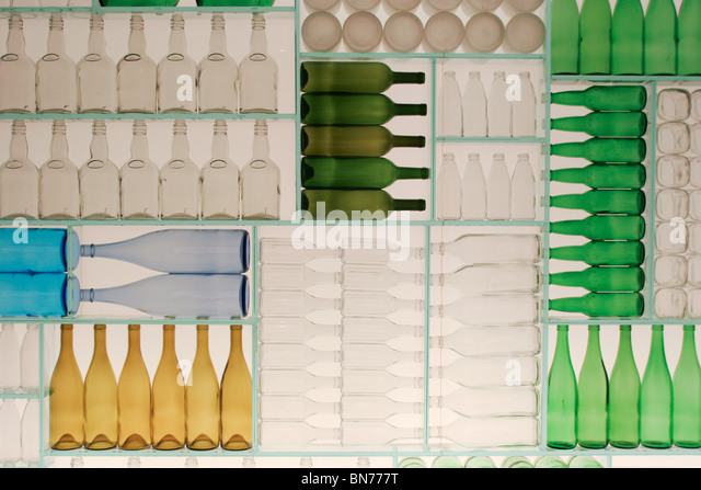 Wall Made Glass Bottles Different Stock Photos Wall Made