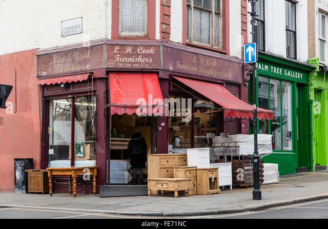 Antique shop front in London s Portobello Road in W10 with furniture  outside for sale on the. Antique Furniture Shop Stock Photos   Antique Furniture Shop Stock