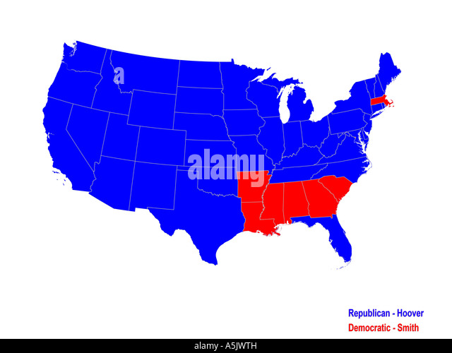 United States Presidential Election Results Map For 1928 Stock Image