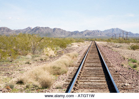 Railroad tracks through desert near Vicksburg Junction Arizona - Stock Image