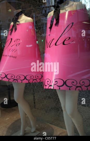 Sydney Christmas Stock Photos Mannequins Wearing Pink Sale Dresses Shop