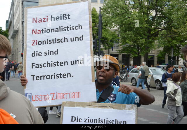 Berlin, Germany. 25th May, 2017. Anti-Zionist demonstrator at Unter den Linden Boulevard in Berlin, Germany Credit: - Stock Image