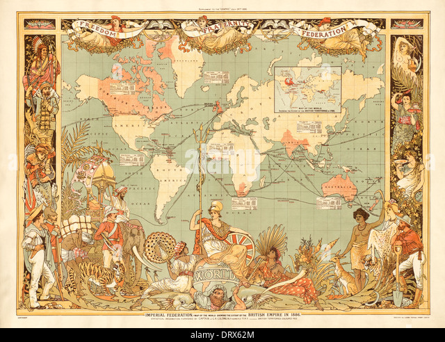 to what extent is the british Cite: imperial federation, map of the world showing the extent of the british empire in 1886 by at via.