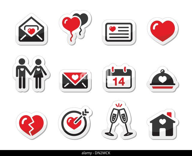 Valentines Day love icons set as labels - Stock Image