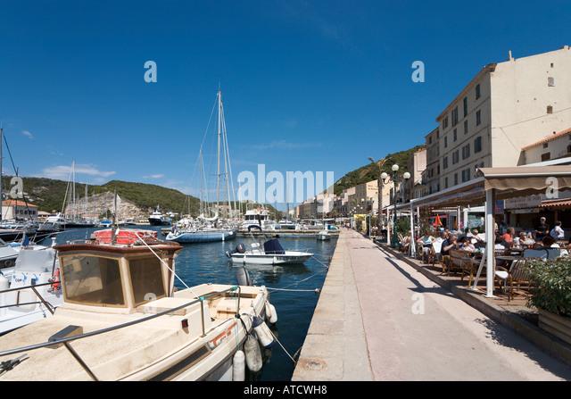 Bonifacio port corsica island france stock photos for Restaurant bonifacio port
