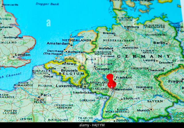 Pinned On Map Germany Stock Photos Pinned On Map Germany Stock - Germany map mannheim