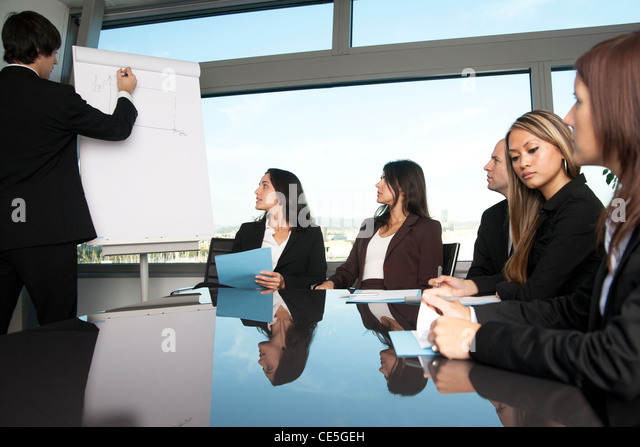 boardroom presentation in a nice office with panorama view six persons stock image person