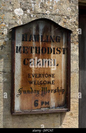 Methodist Chapel board, Hawling, Gloucestershire, England, UK - Stock Image
