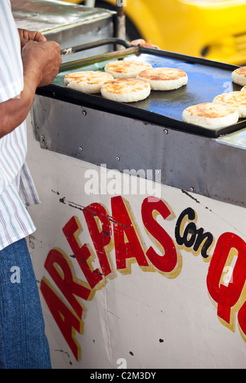 Arepas con queso, Getsamani, old town, Cartagena, Colombia - Stock ...