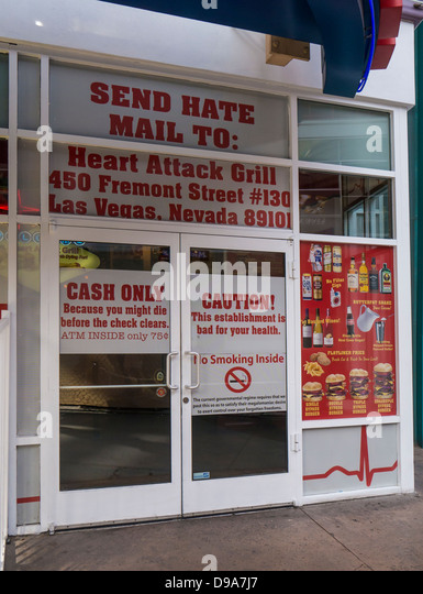 Entrance To The Heart Attack Grill In Fremont Street, Downtown Las Vegas    Stock Image