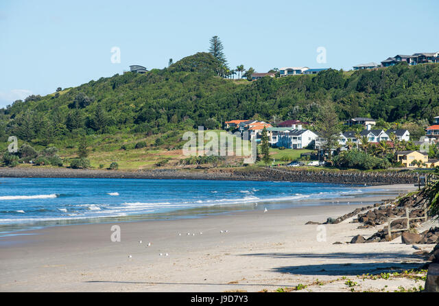 Long sandy beach in Lennox Head, Byron Bay, Queensland, Australia, Pacific - Stock Image