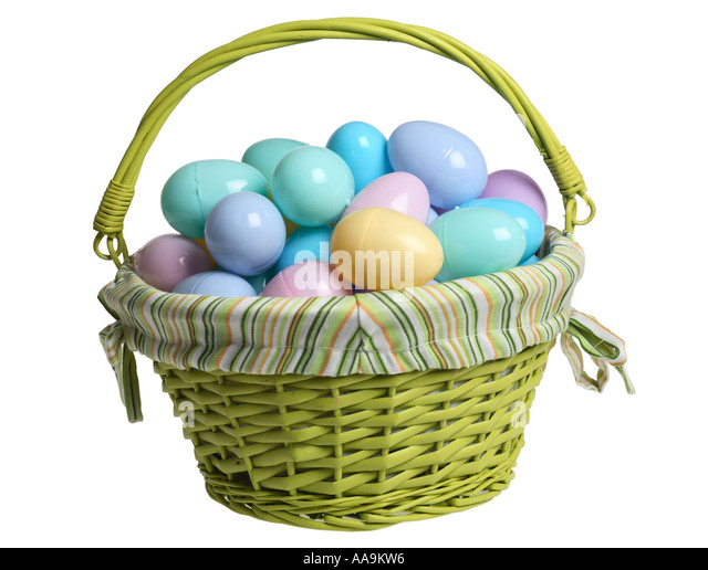 Easter Basket Filled With Plastic Eggs And Candy