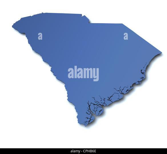 3d Map South Carolina Stock Photos 3d Map South Carolina Stock