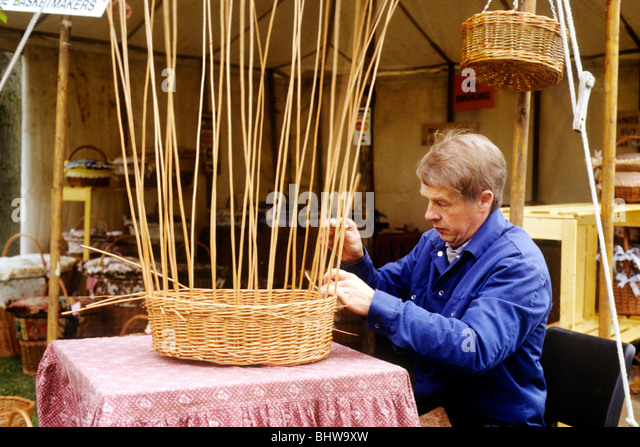 Traditional Basket Making : Weaving basket stock photos images