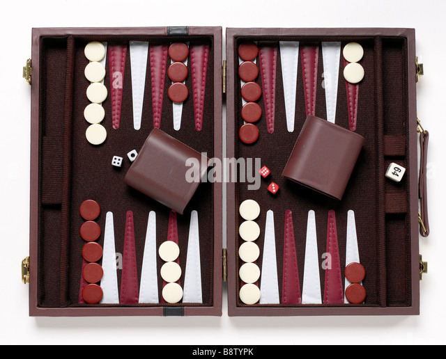 backgammon game elevated view stock image - Backgammon Game